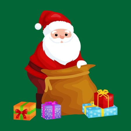 xmass: christmas Santa Claus with bag full of presents for winter holiday xmass, new year gifts vector illustration. Illustration