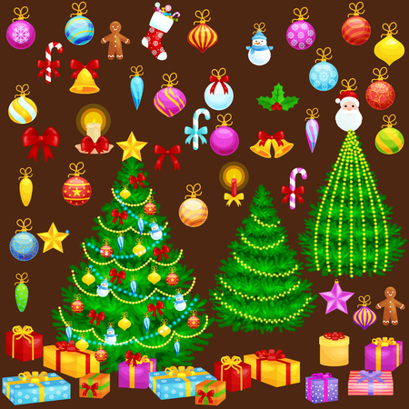 ball lights: holiday christmas tree isolated decoration for celebrate xmass with ball gold bells candles stars lights candy and gingerbread men.