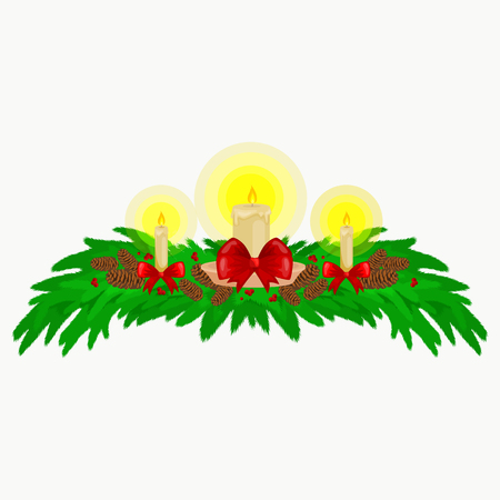 Christmas decorations such as candles on the branches of spruce beautifully decorated with bows and ribbons. Merry Christmas and Happy New Year vector illustration illuminated by candle light.