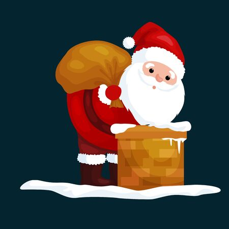 xmass: christmas Santa Claus in red suit with bag full of gifts in the chimney climbs that would give presents on Christmas Eve or winter holiday xmass, new year vector illustration.
