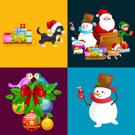 Santa Claus sack full of gifts,angel wings magic wand star, snowman candy, decoration ribbons balls birds, pet dog gifts in sleigh, penguins elf Vector illustration Merry Christmas and Happy New Year