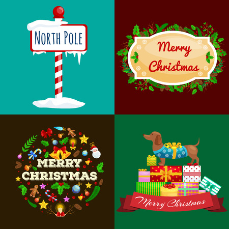 year of the dog: set of greeting cards and banners Merry Christmas and a Happy New Year with Christmas decorations and gifts. The inscription on the plate next to the North Pole dog rejoicing gifts.