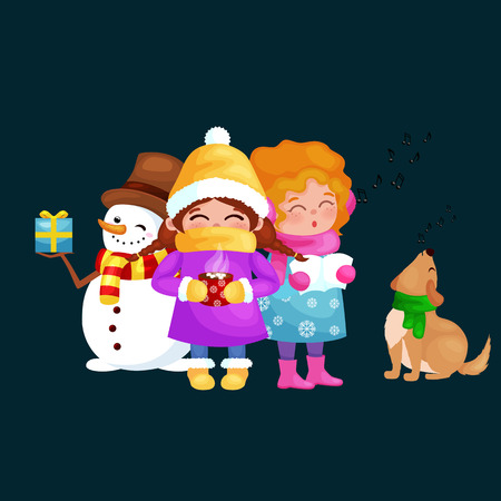 scarves: vector illustrations set Merry Christmas Happy new year, girl sing holiday songs with her dog, snowman in hat holding gifts, children warm hats scarves gloves enjoying winter weekend