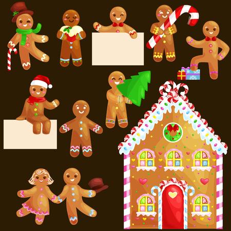 Set christmas cookies gingerbread man en een meisje in de buurt van zoete huis versierd met ijsvorming dansen en plezier in een initiaal met de kerst boom en geschenken, xmas zoet voedsel vector illustratie. Stockfoto - 67670924