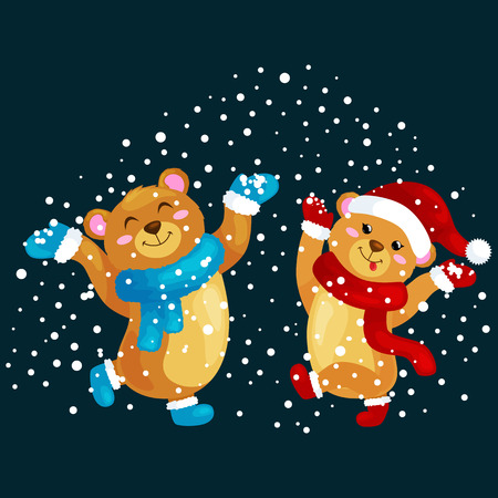 winter dance: cute Christmas bears during the winter holidays and the New Years Eve jump under snowfall rejoice gifts. bears in winter clothes warm mittens, scarves and boots hat dance for joy vector illustration