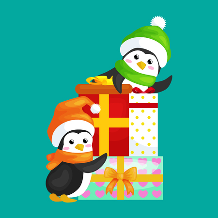Two Happy Cute Christmas Penguin In Hat And Scarf Are A Stack ...