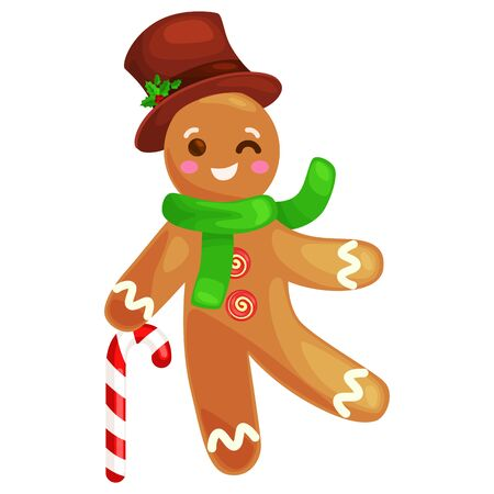 homemade bread: set christmas cookies gingerbread man and girl near sweet house decorated with icing dancing and having fun in a cap with the Christmas tree and gifts, xmas sweet food vector illustration.