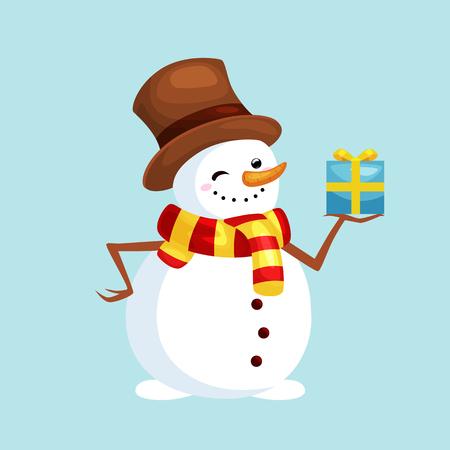 Noël blanc bonhomme de neige en chapeau et écharpe avec cadeau d'hiver pour illustration vectorielle de célébration nouvel an. Vecteurs