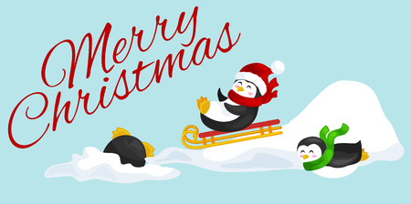 two happy cute Christmas penguin in hat and scarf sledding snow ice slides on the eve of the new year. Greeting vector illustration.