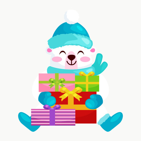 osos navideños: Cute Christmas bears during the winter holidays and the New Years Eve sitting rejoice gifts. Teddy in winter clothes warm mittens, scarves and boots hat happy and joy vector illustration