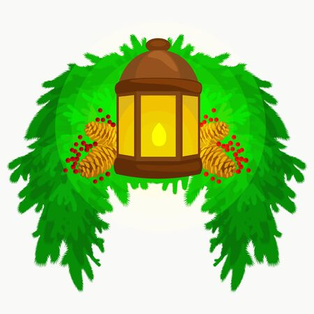 Lantern stands on the spruce branches and candle light shines warm on pine cones, vector illustration for a Merry Christmas and Happy New Year. Illustration