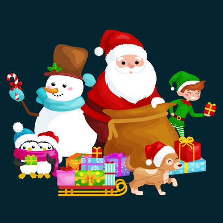 year of the dog: Santa Claus sack full of gifts,angel wings magic wand star, snowman candy, decoration ribbons balls birds, pet dog gifts in sleigh, penguins elf Vector illustration Merry Christmas and Happy New Year