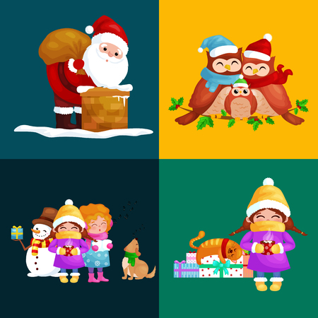 year of the dog: illustrations set Merry Christmas Happy new year, girl sing holiday songs with pets, snowman gifts cat and dog enjoy presents, owls family and bird,Christmas elf Santa Claus climbing chimney with bag.