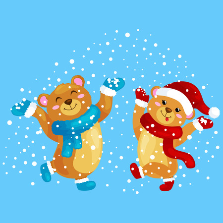 jump for joy: cute Christmas bears during the winter holidays and the New Years Eve jump under snowfall rejoice gifts. bears in winter clothes warm mittens, scarves and boots hat dance for joy vector illustration