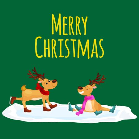 christmas spending: Christmas reindeer with horns and scarf skates on ice fun and happily spending time on the eve of New Year holiday, winter christmas animal deer vector illustration,. Illustration