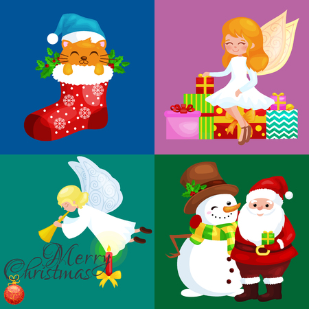 Santa Claus with snowman hats, children enjoy winter holidays, elf runs with sweets and angel with wings pipe near gifts, Cat in sock, girl skating ice, penguins stack of presents, deer decorated his antlers with lights