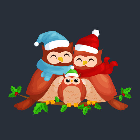 happy family of owls mom dad and baby in a warm hat and scarf sitting on a branch and enjoys the eve of Christmas and New Year by candlelight vector illustration.