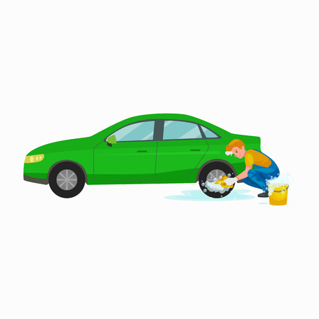 car wash services, auto cleaning with water and soap, car interior.  イラスト・ベクター素材