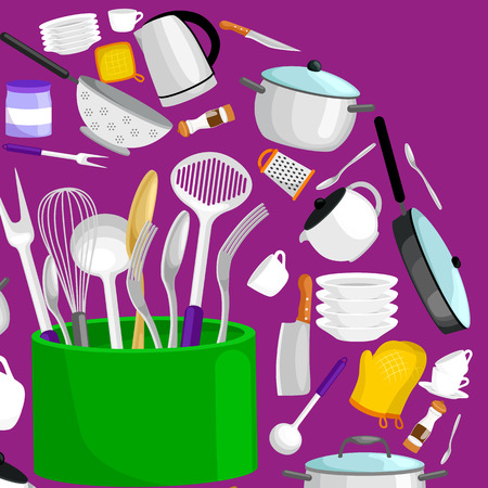 Kitchenware icons vector set. Cartoon kitchen utensil collection spoon pot food knife fork cup pan spatula ladle plate dish bowl colander whisk grater. Steel kitchen household cutlery, cooking equipment tools Vetores