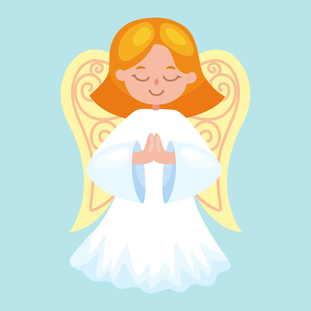 angelic: christmas holiday flying angel with wings and golden trumpet like symbol in Christian religion or new year holiday vector illustration.
