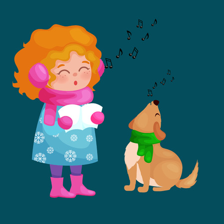 singing bells: girl and dog singing christmas songs and jingle bells music on winter holiday fun vector illustration,