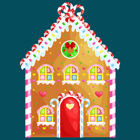 gingerbread house decorated candy icing and sugar.christmas cookies, traditional winter holiday xmas homemade baked sweet food vector illustration. Иллюстрация