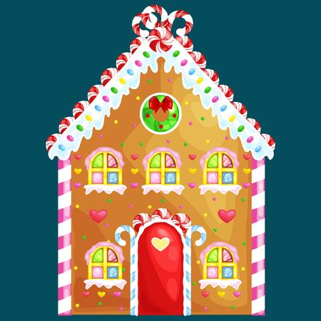 Peperkoek huis versierd snoep ijsvorming en sugar.christmas koekjes, traditionele wintersportvakantie xmas zelfgemaakt gebakken zoete gerechten vector illustratie. Stockfoto - 67676873
