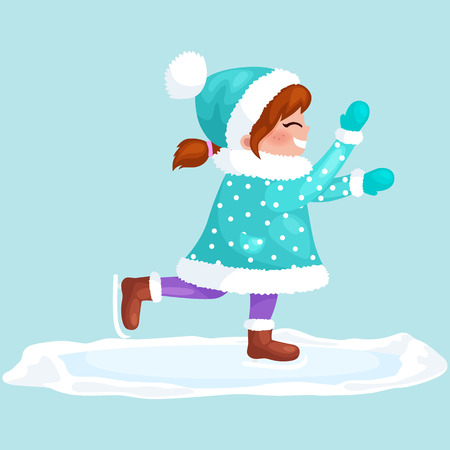 girl outdoor skating ice isolated, fun winter holiday activity, merry christmas and happy new year vector illustration. Illustration