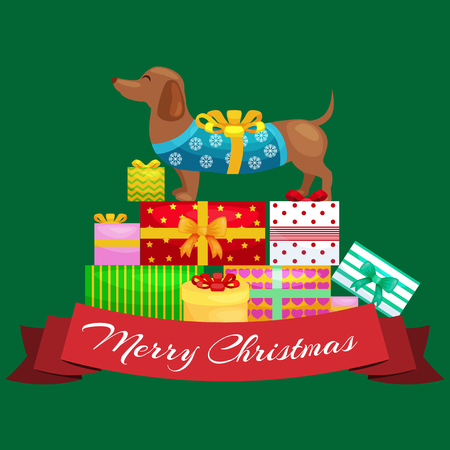 Happy Christmas dogs on stack of presents, xmas gifts for animals vector illustration. Illustration