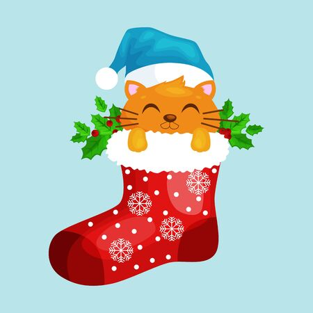 Merry Christmas Cat in Sock Vector Illustration