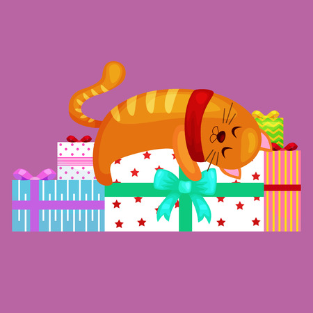happy cute cat with christmas gifts, kitten with christmas presents box, animal holidays vector illustration.