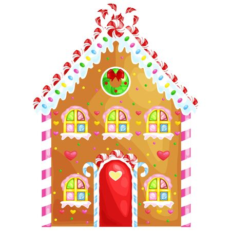 gingerbread house: gingerbread house decorated candy icing and sugar.christmas cookies, traditional winter holiday xmas homemade baked sweet food vector illustration. Illustration