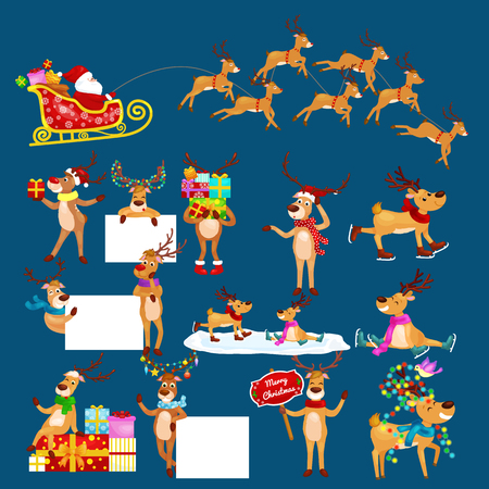 santa helper: christmas set of deer with banner isolated, happy winter xmas holiday animal greeting card, santa helper reindeer vector illustration, Santa in his Christmas sled being pulled by reindeer. Illustration