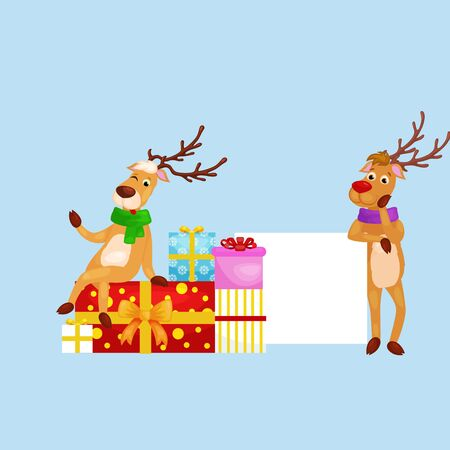 santa helper: christmas set of deer with banner isolated, happy winter xmas holiday animal greeting card, santa helper reindeer vector illustration. Illustration