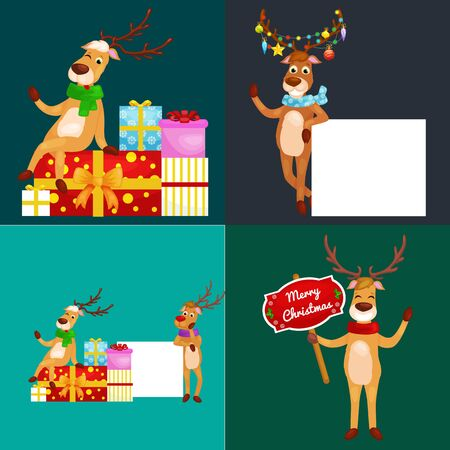 santa helper: christmas set of deer with banner isolated, happy winter xmas holiday animal greeting card, santa helper reindeer vector illustration. Illustration