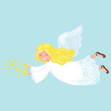 fiesta de la Navidad ángel con las alas y la trompeta de oro como símbolo de la religión cristiana o una nueva ilustración vectorial de vacaciones de año volando. Ilustración de vector