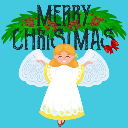 christmas holiday flying angel with wings and golden trumpet like symbol in Christian religion or new year holiday vector illustration.