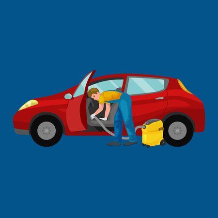 Autowaschservice, automatische Reinigung mit Wasser und Seife, Autoinnenraum.