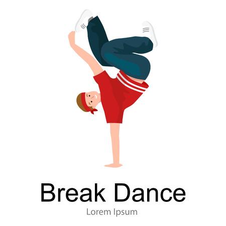 Teenager boy dancing hip hop style isolated vector illustration. Young cool dancer break dance, sexy men modern dancing, break pose balance, funky male dancer vector illustration Illustration