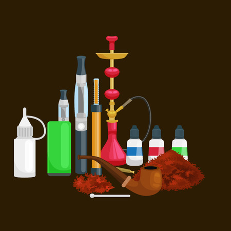 cigar smoking woman: Smoking tobacco decorative icons set with cigarettes hookah cigars alcohol lighter on brown background isolated vector illustration