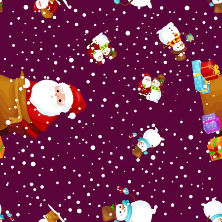 palle di neve: Merry Christmas and Happy New Year Friends Santa Claus in hat and snowman in scarf celebrate xmas.