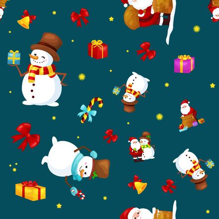 Merry Christmas and Happy New Year Friends Santa Claus in hat and snowman in scarf celebrate xmas.
