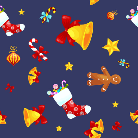 jingle bells: Christmass seamless pattern with gingerbread man cookies, jingle bells bow stocking gifts, xmas background decoration elements