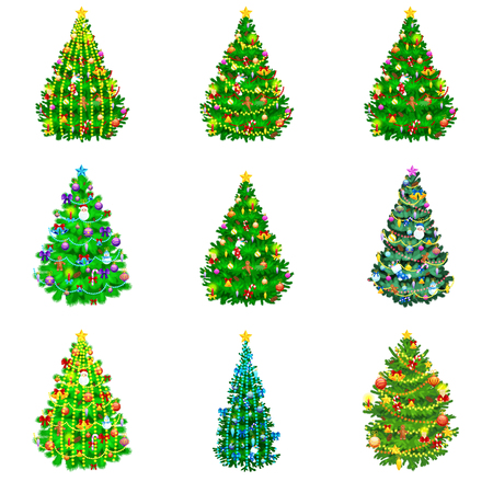 xmass: holiday christmas tree isolated decoration for celebrate xmass with ball gold bells candles stars lights candy and gingerbread men.