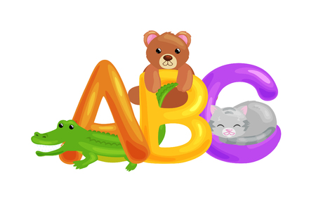 set of animals alphabet for kids letters, cartoon fun abc education in preschool, cute children zoo collection learning english language pattern vector illustration