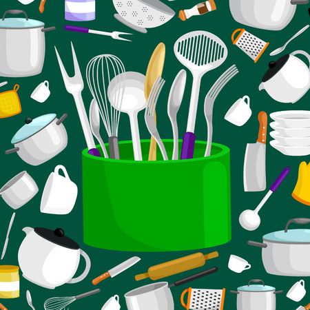 hob: Kitchenware icons vector set.Steel kitchen household cutlery, cooking equipment Illustration