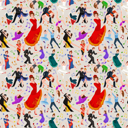 strip dance: Seamless pattern. Dancing People, Dancer Bachata, Hiphop, Salsa, Indian, Ballet, Strip, Rock and Roll, Break, Flamenco, Tango, Contemporary, Belly Dance Pictogram Icon.  style of design concept set