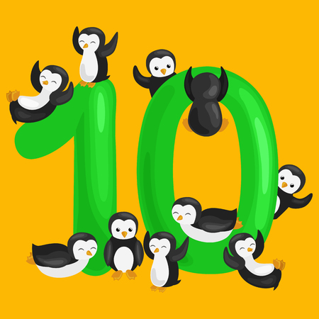 ordinal number 10 for teaching children counting ten penguins with the ability to calculate amount animals abc alphabet kindergarten books or elementary school posters collection vector illustration Stock Photo