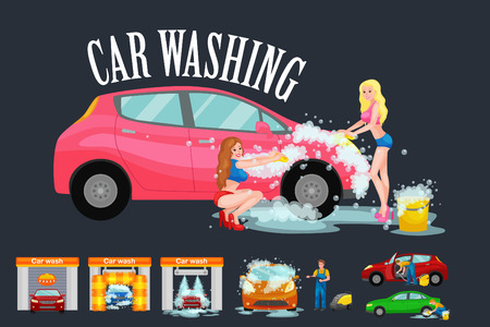 vacuuming: contactless car washing services, bikini model girl cleaning auto with soap and water, vehicle interior vacuum cleaner, isolated man drying automobile vector illustration
