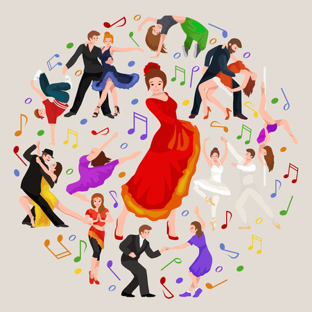 Spanish girl flamenco dancer in red dress,  beautiful dance, happy sexy woman dancing Illustration